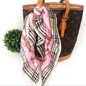 Silk scarf equestrian plaid print pink